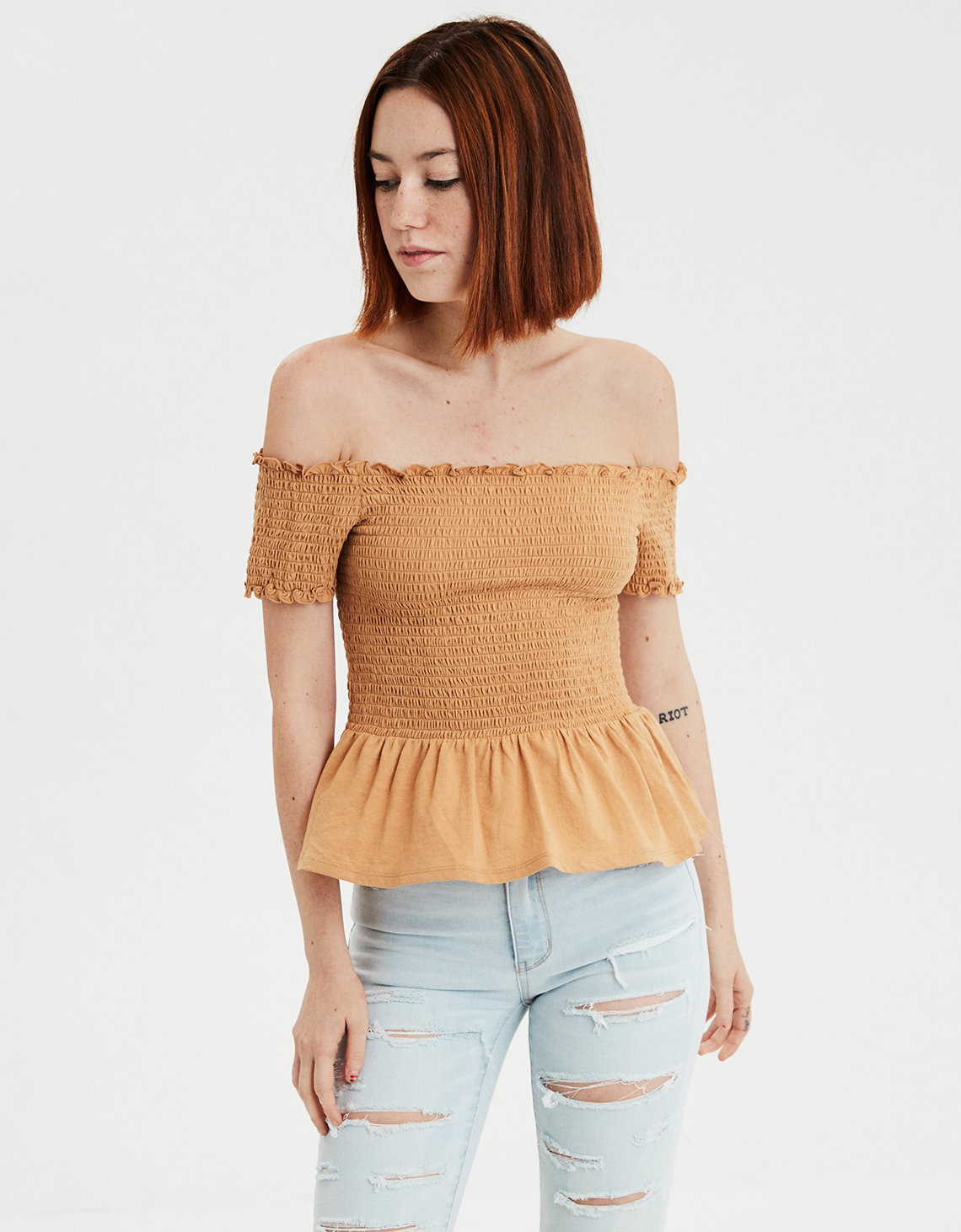 4dbb138a AE Off-The-Shoulder Smocked Peplum T-shirt. Placeholder image. Product Image