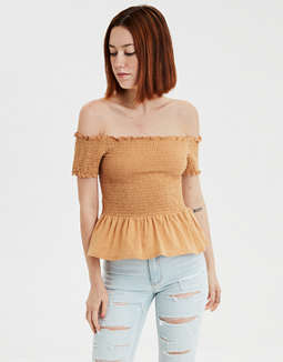 AE Off-The-Shoulder Smocked Peplum T-shirt