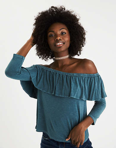 Aeo soft & sexy off the shoulder bell sleeve top