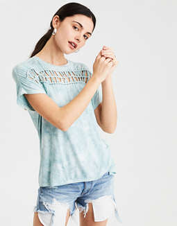 Ae Soft & Sexy Macrame Front T Shirt by American Eagle Outfitters