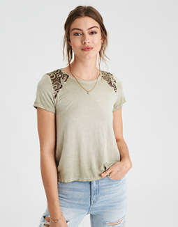 Ae Soft &Amp; Sexy Lace Inset T Shirt by American Eagle Outfitters