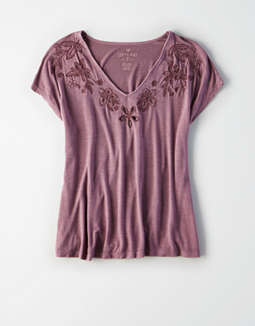 Ae Soft &Amp; Sexy Cut Out Embroidery V Neck T Shirt by American Eagle Outfitters