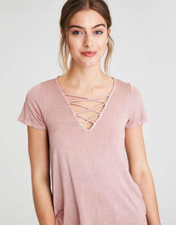 Ae Soft & Sexy Short Sleeve Lace Up T Shirt by American Eagle Outfitters