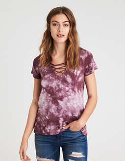 Ae Soft &Amp; Sexy Short Sleeve Lace Up T Shirt by American Eagle Outfitters