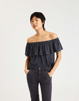 Ae Soft & Sexy Off The Shoulder Lace Trim T Shirt by American Eagle Outfitters