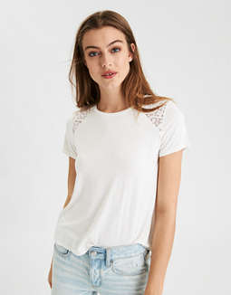 Ae Soft & Sexy Lace Inset T Shirt by American Eagle Outfitters