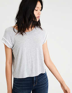 Ae Soft & Sexy Lace Trim Raglan T Shirt by American Eagle Outfitters