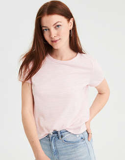 Ae Easy Striped Fitted Classic Tee by American Eagle Outfitters
