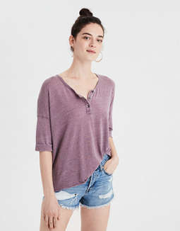 Ae Burnout Henley T Shirt by American Eagle Outfitters