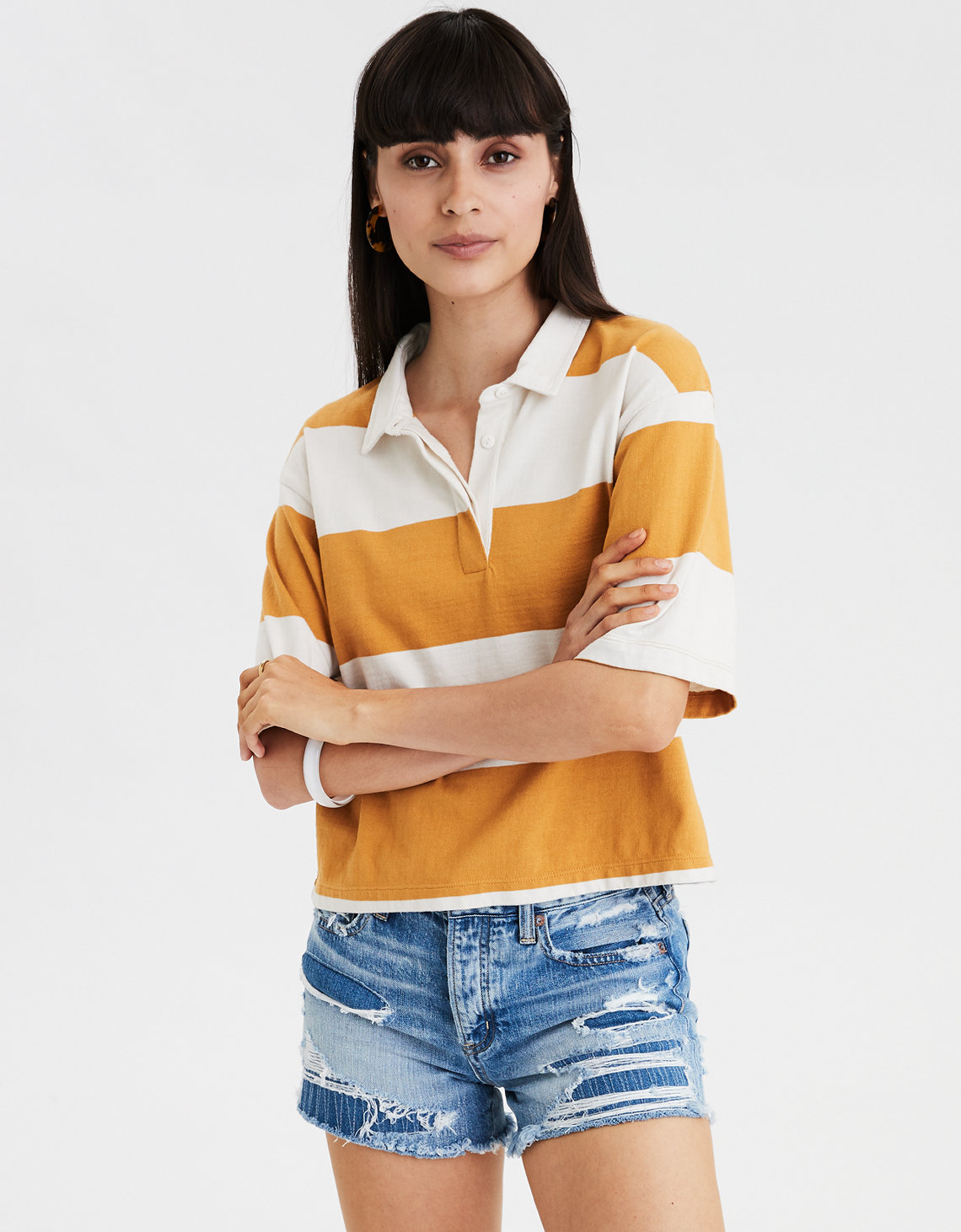 AE Striped Drop Shoulder Polo