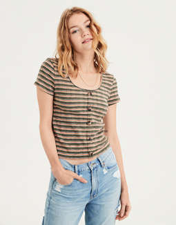 AE Stripe Ribbed Button-Down T-shirt