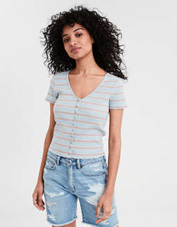 AE Striped V-Neck Snap Front T-shirt