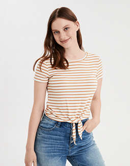 AE Striped Knot Front T-Shirt