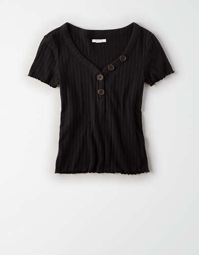 AE Asymmetrical Button Henley T-Shirt