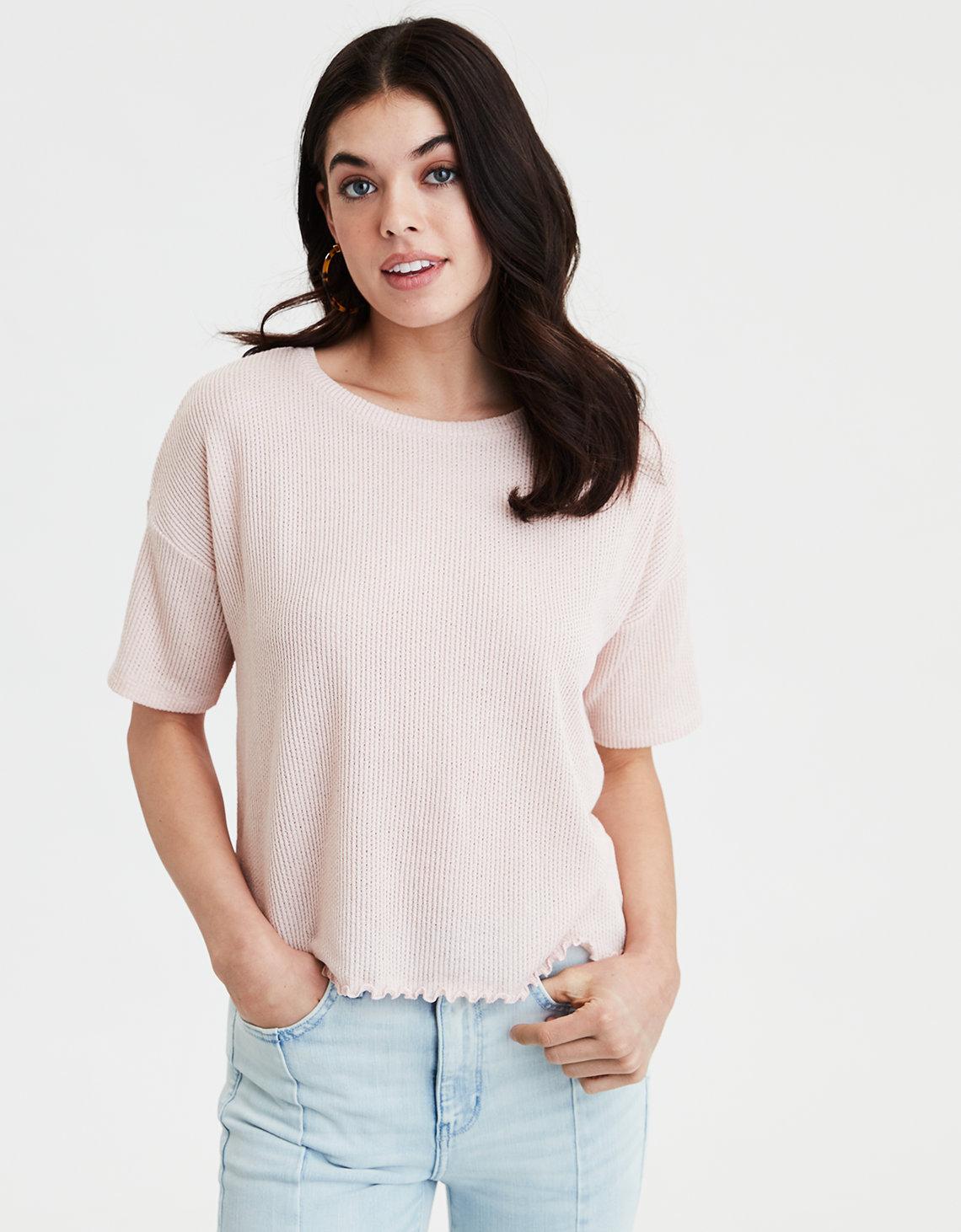 d2a5e2ccb AE Soft Boxy T-shirt, Blush | American Eagle Outfitters