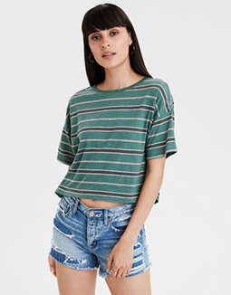 AE Striped Boxy Crop T-Shirt