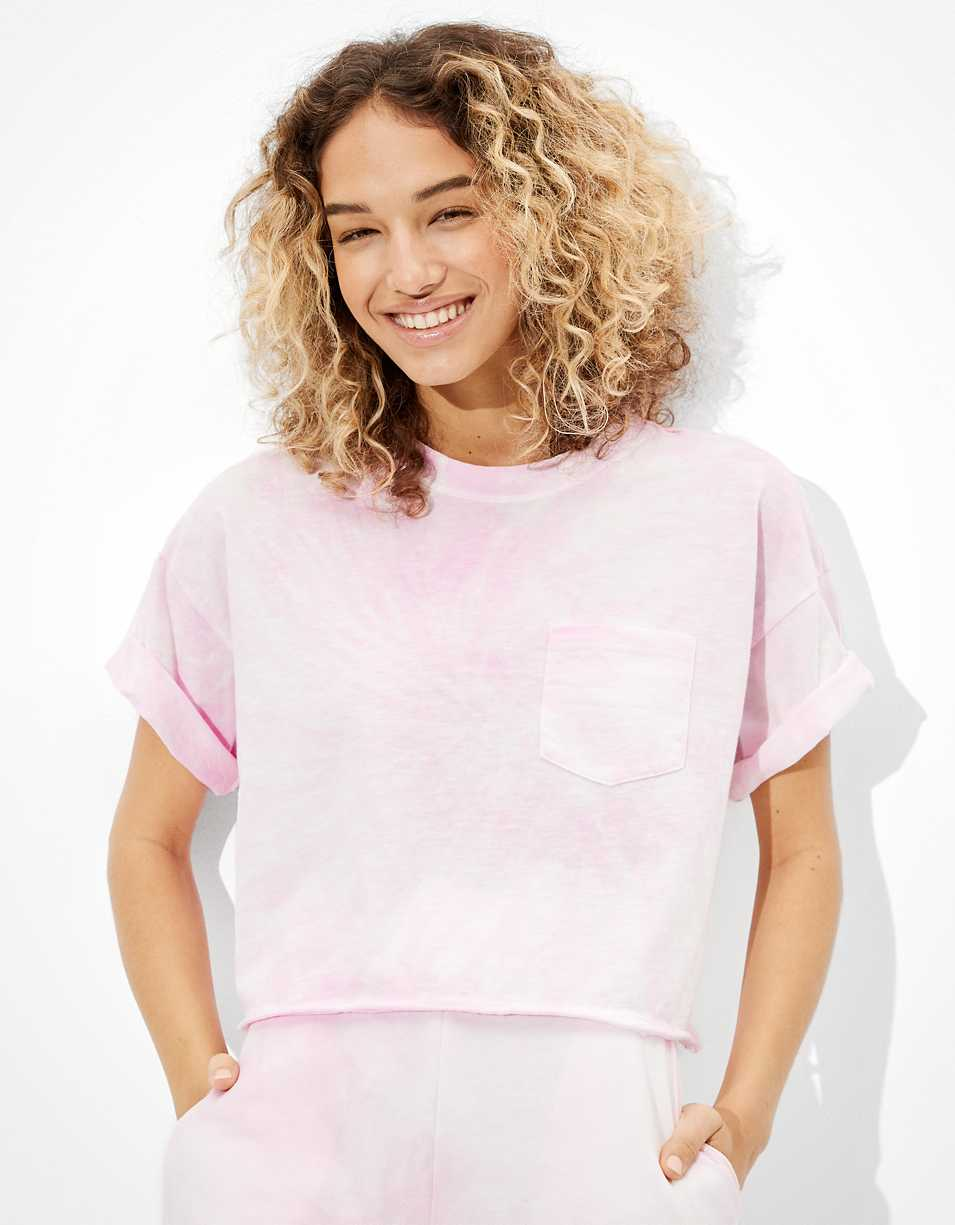 AE Cropped Tie-Dye Crew Neck T-Shirt