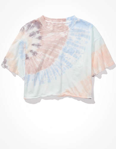 AE Cropped Tie Dye Crew Neck T-Shirt