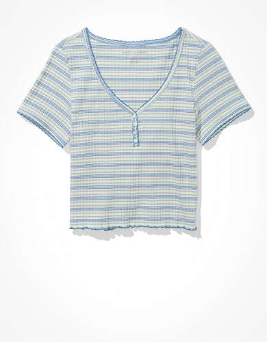 AE Striped Henley Baby Tee