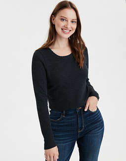 AE Long Sleeve Lace Trim Waffle T-Shirt