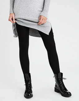 Aeo Solid Fleece Lined Footed Tight by American Eagle Outfitters