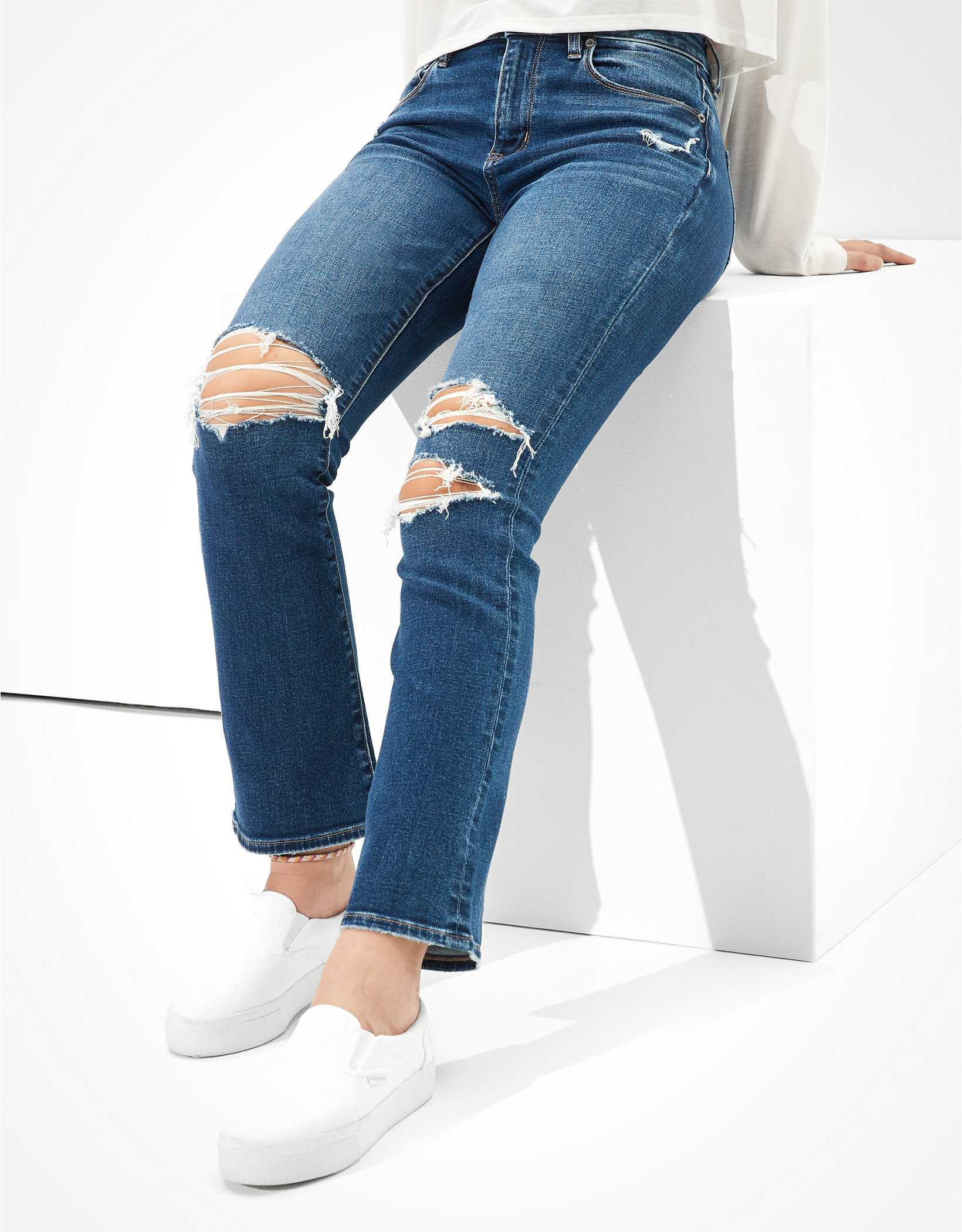 AE Ripped High-Waisted Skinny Kick Crop Jean