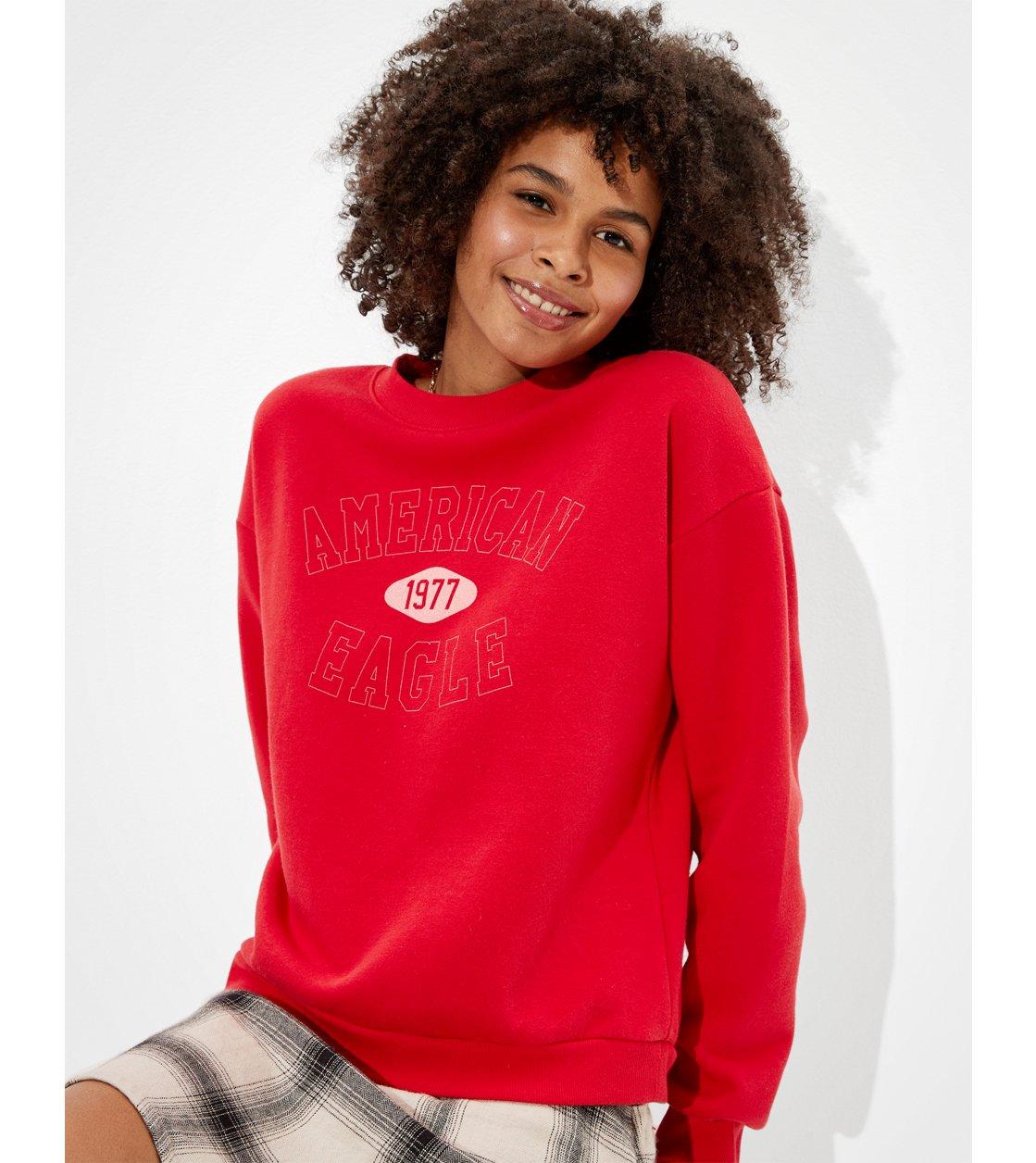 American Eagle AE Fleece Graphic Crew Neck Sweatshirt
