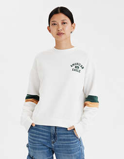 AE Fleece Striped Graphic Sweatshirt
