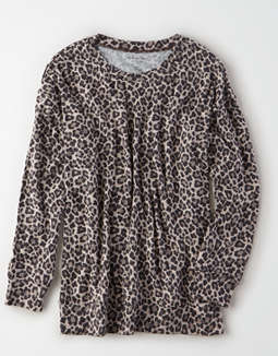 AE Plush Leopard Crew Neck Sweatshirt