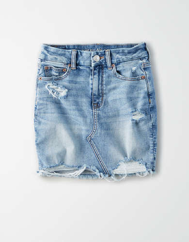 Curvy High-Waisted Denim Mini Skirt