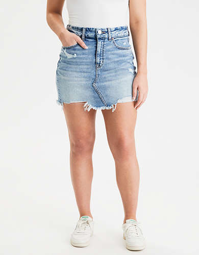 AE Curvy High-Waisted Denim Mini Skirt