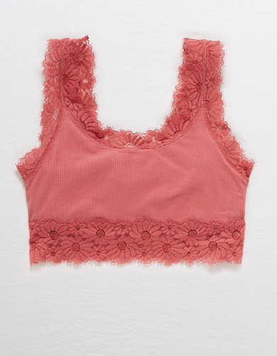 Aerie Happy Lace Ribbed Longline Bralette