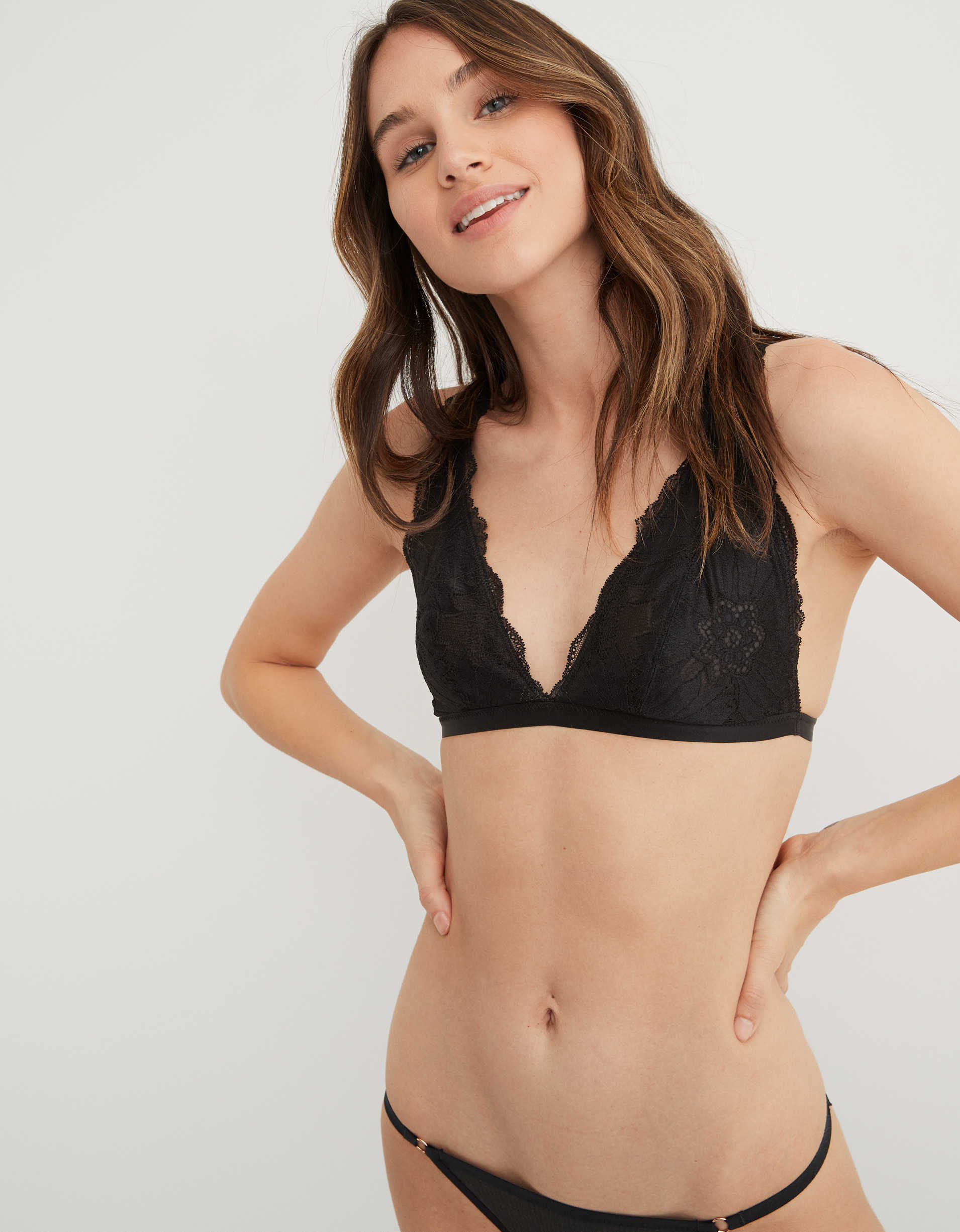 Aerie Hibiscus Lace Plunge Bralette