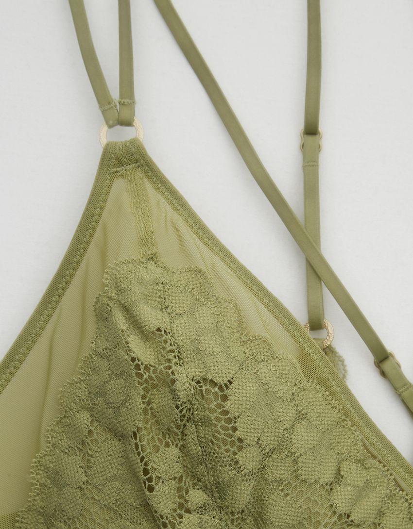 Aerie Wild Side Lace Strappy Triangle Bralette