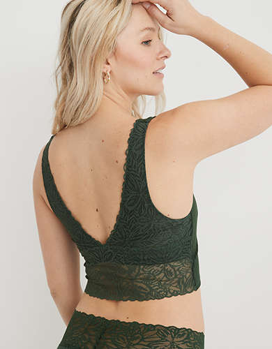 Aerie Ribbed Firework Lace Longline Bralette