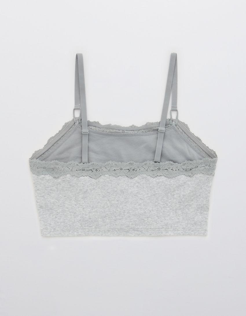 Aerie Pointelle Lace Trim Longline Bralette