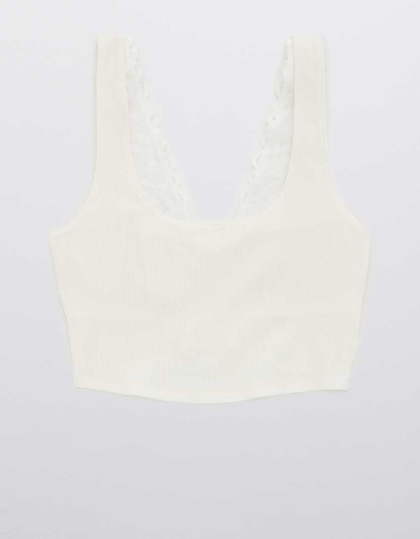 Aerie Holiday Best Lace Waffle Longline Bralette