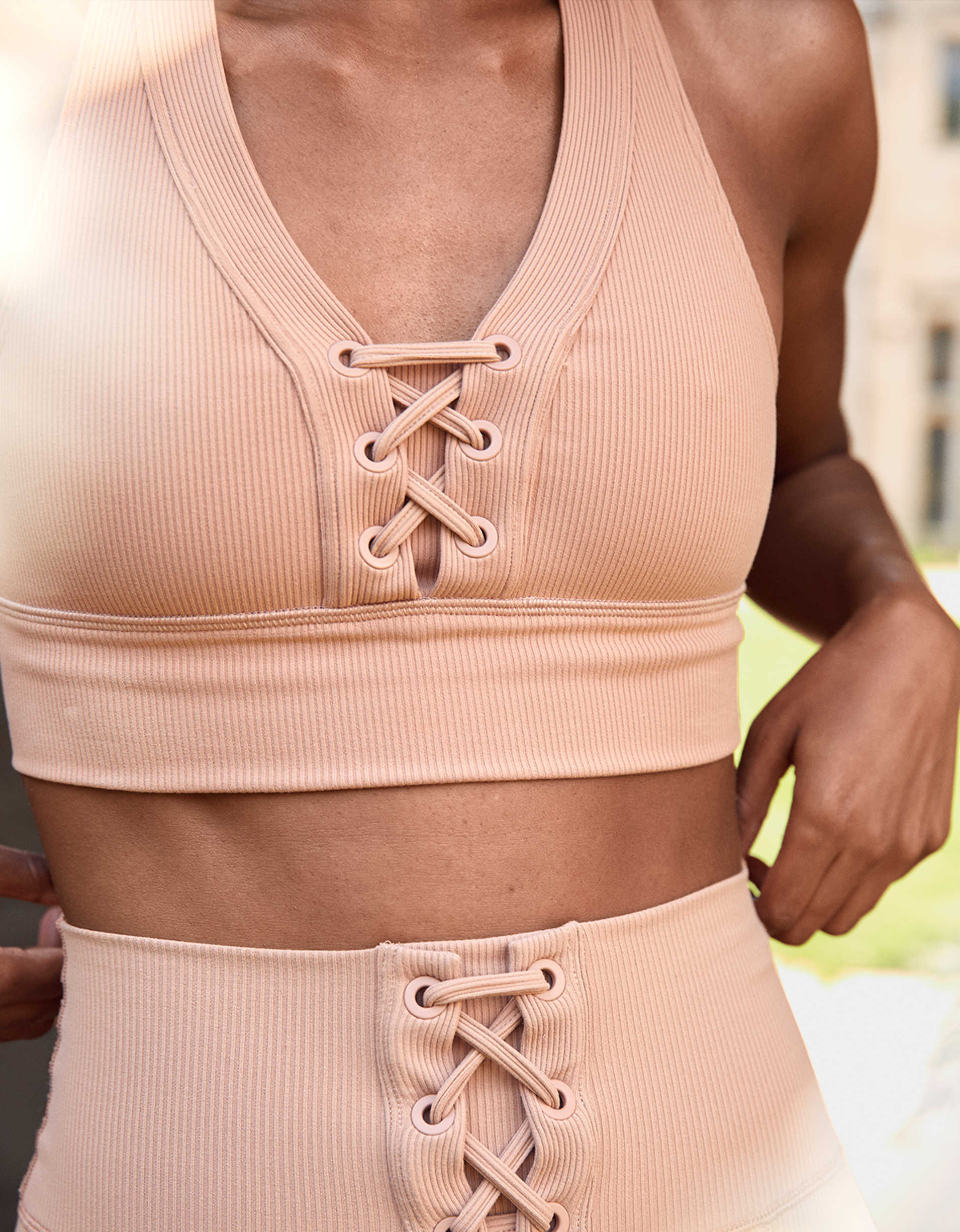 OFFLINE Ribbed Lace Up Sports Bra