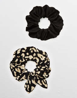 Aerie Leopard Bow Scrunchie 2-Pack