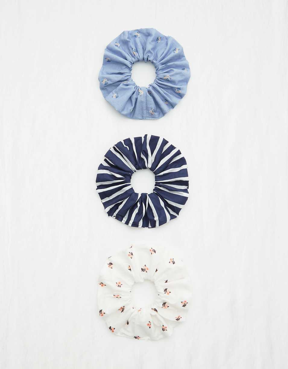 Aerie Cotton Poplin Scrunchie 3-Pack