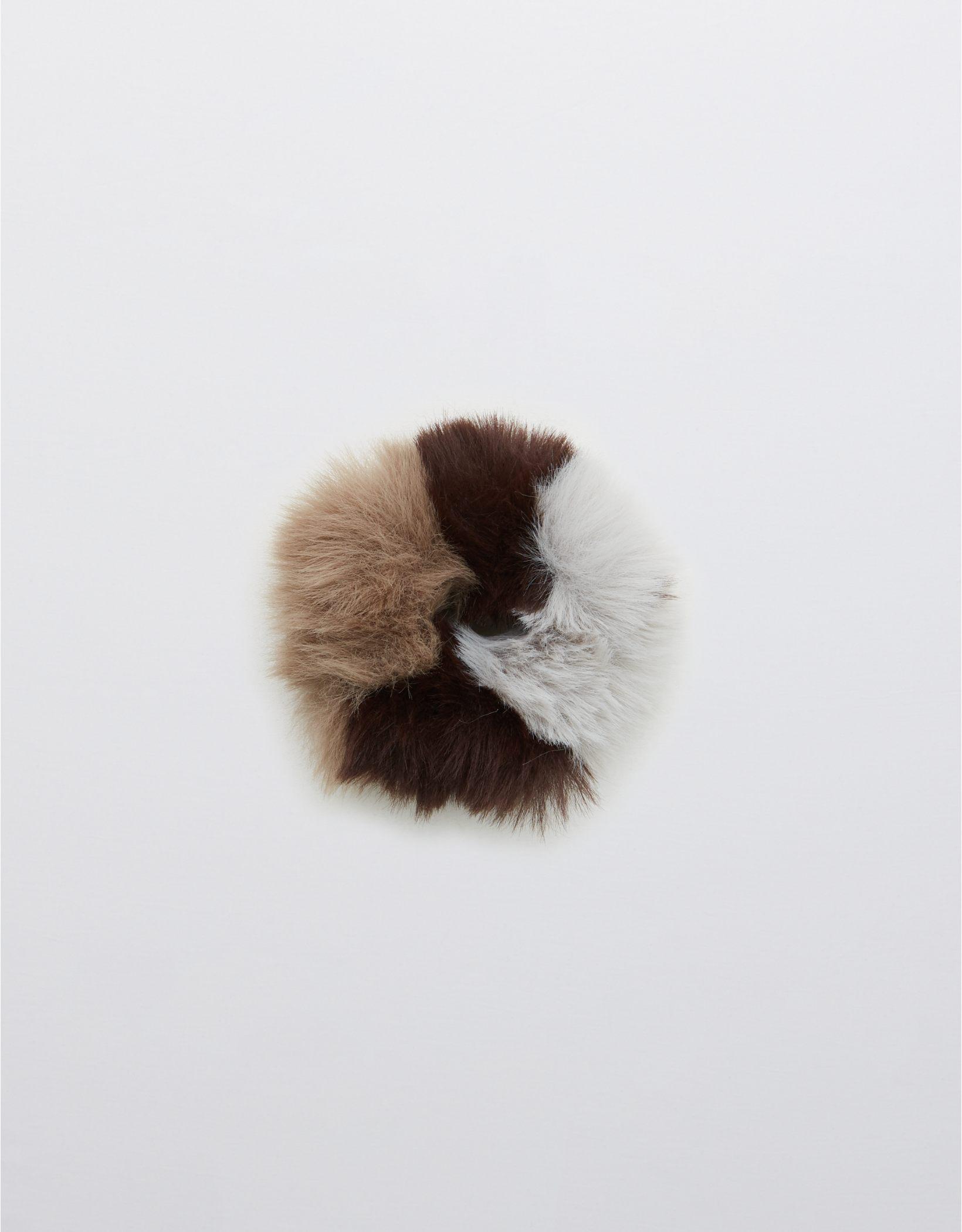 Aerie Striped Fur Scrunchie