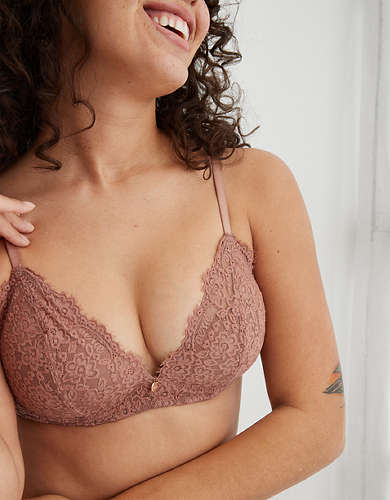 Aerie Real Power Wireless Eyelash Lace Push Up Bra
