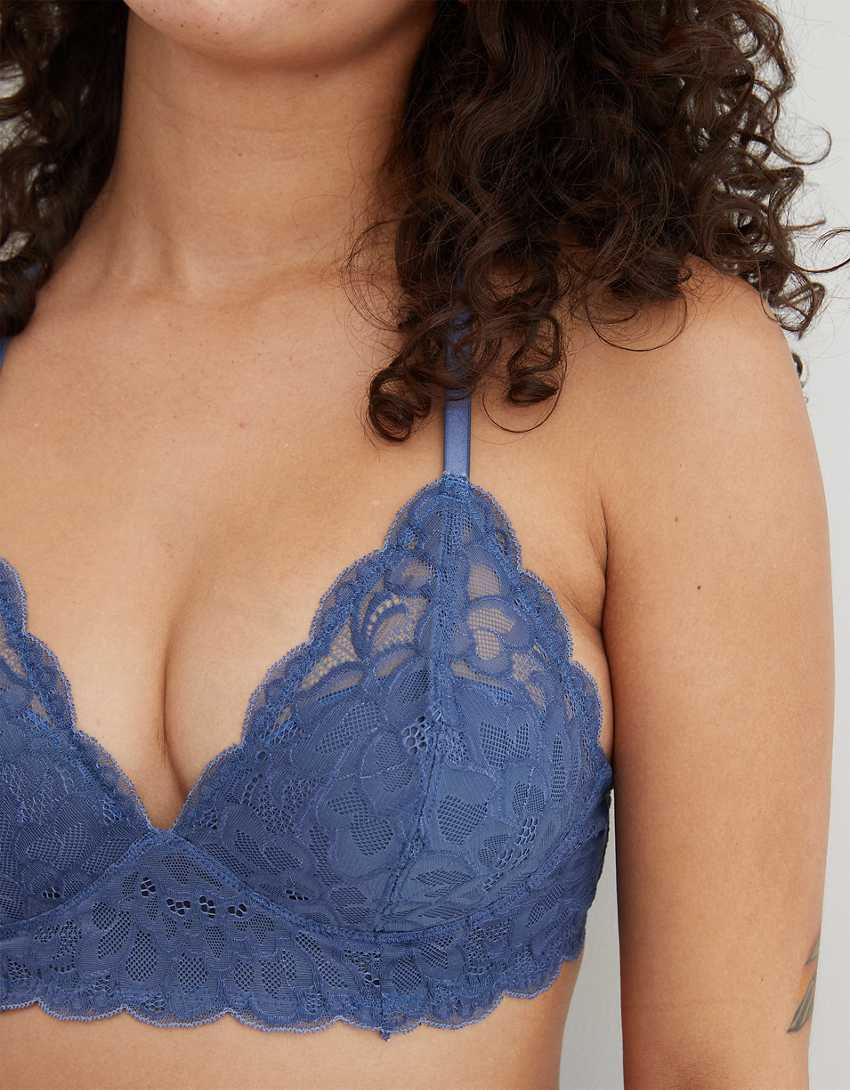 Aerie Real Power Wireless Push Up New Blooms Lace Bra