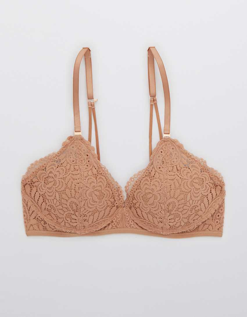 Aerie Real Power Wireless Push Up Far Out Lace Bra