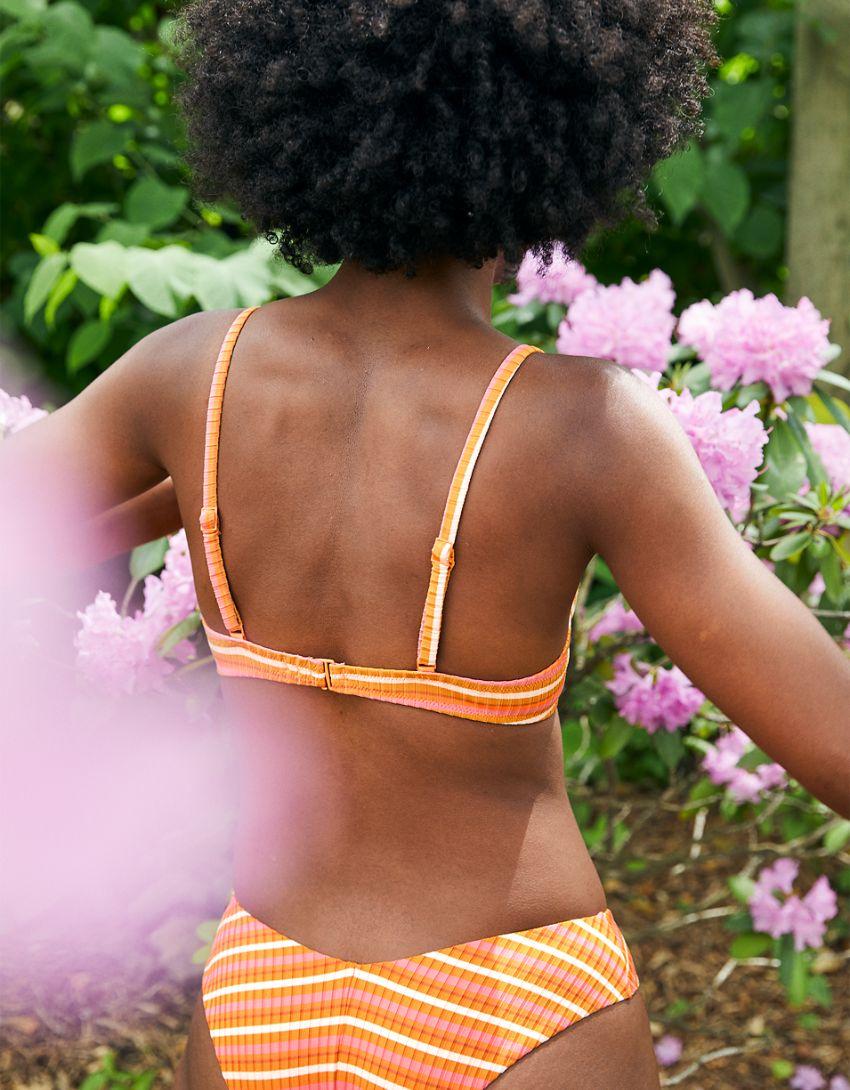Aerie Striped Ribbed Unlined Underwire Bikini Top