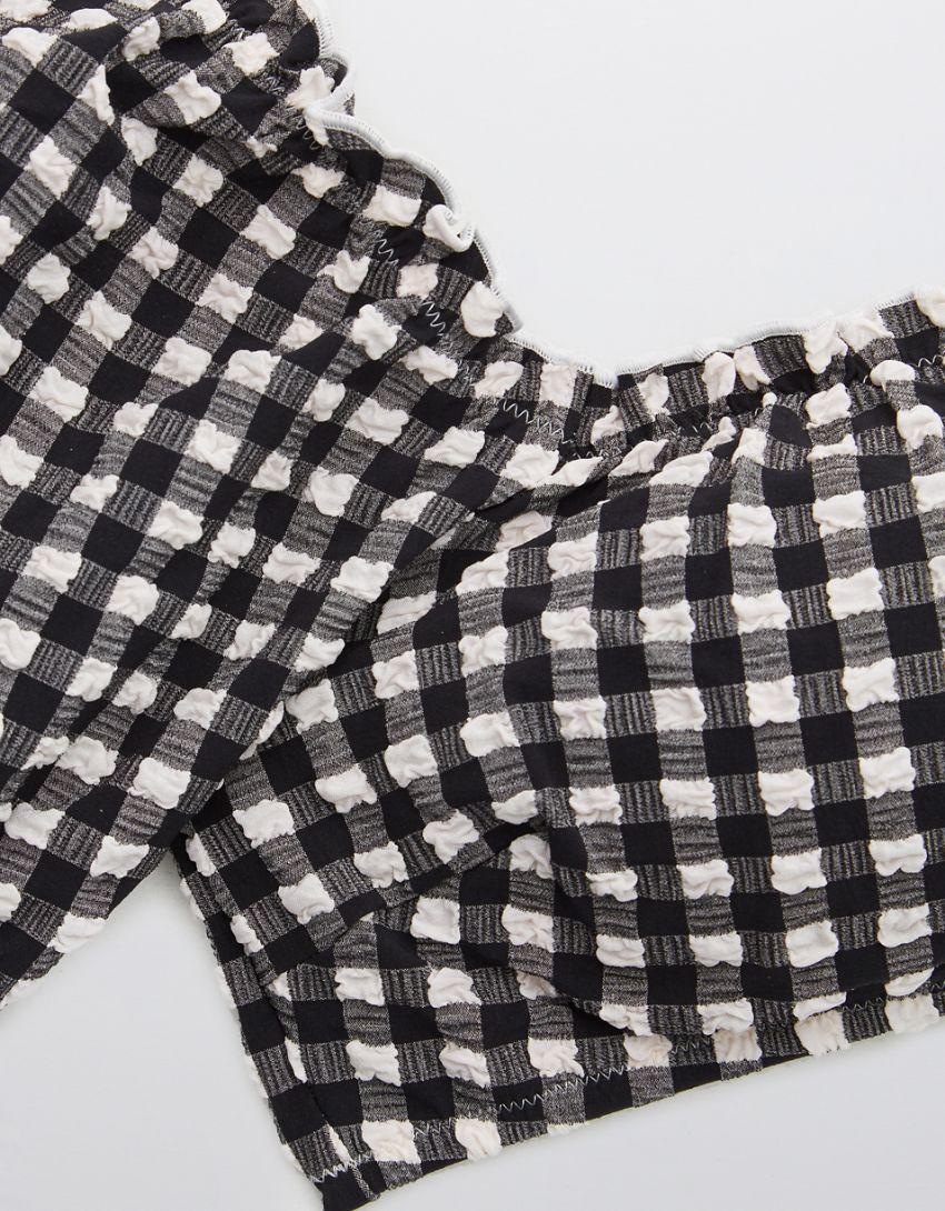 Aerie Gingham Puff Sleeve Bikini Top