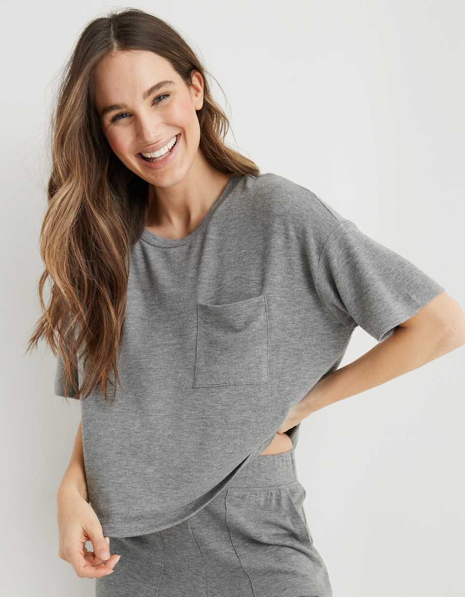 Aerie Softest® Sleep Plush Cropped T-Shirt