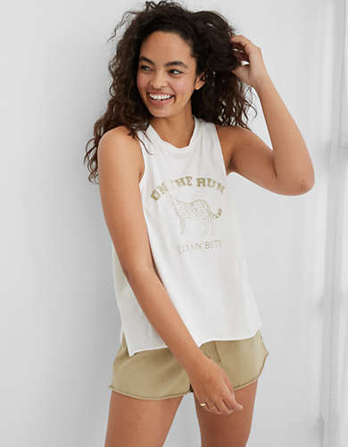 Aerie Cheetah Sleep Graphic Muscle Tank