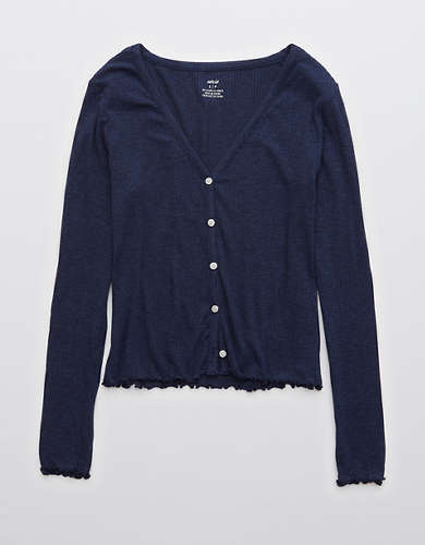 Aerie Real Soft® Ribbed Long Sleeve Button Up