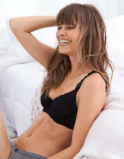 Happy Unlined Demi Coverage Bra True Black Aerie For
